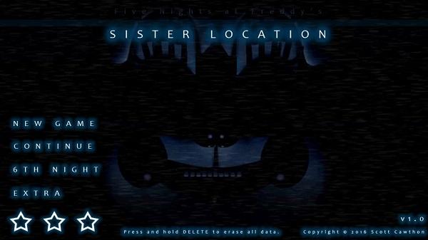 Sister Location horror game menu
