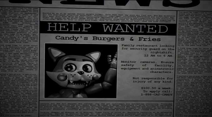 Five nights at Candy's job offering in the newspapers