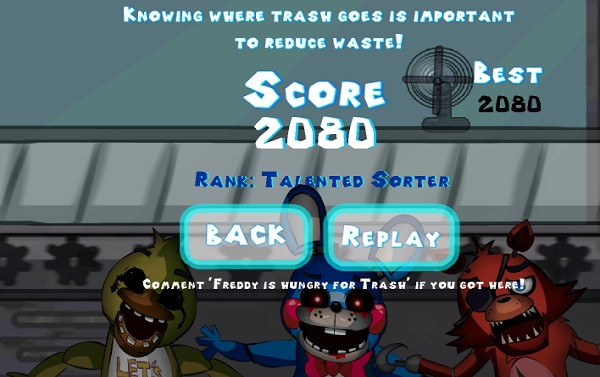 Foxy Hungry Trash ranking menu and the best score