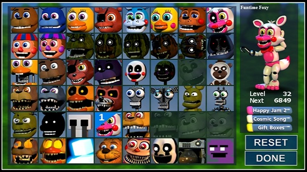 FNAF World characters in the game menu