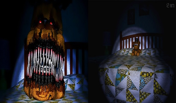 Five Nights at Freddy's 4 Scary room with robotic creatures